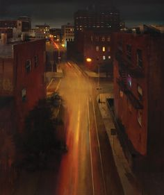 Williamsburg at Midnight, Oil on Canvas, Kim Cogan