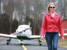 Red Leather, Leather Jacket, Female Pilot, Personal Goals, Stay At Home, Self, Jackets, Instagram, Fashion