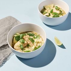Green Curry Zoodle Soup with Halibut