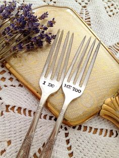 I Do, Me Too Wedding Cake Fork Set - Hand Stamped, via Etsy.