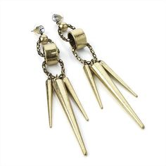 Minerva Collection Large Spike Drop Pierced Fashion Earrings Burnt Gold