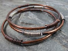 Hand Forged Solid Copper Bangles Stacking by PattiVanderbloemen, $42.00