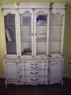 Tea-Stained White China Hutch-These transformations just amaze me!!!