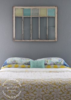 Turquoise Yellow and Gray Bedroom | ... Love the old window, done with the colors in scrapbooking pages..