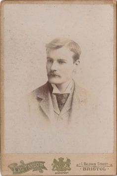 Cabinet Photo Handsome Victorian Mustached Man - A & G Taylor of Bristol 1890s