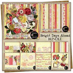Bright Days Ahead {Bundle} Embossed Paper, Customer Appreciation, Free Digital Scrapbooking, Piece Of Me, Vintage Ephemera, Journal Cards, Word Art, Swirls, Bookmarks