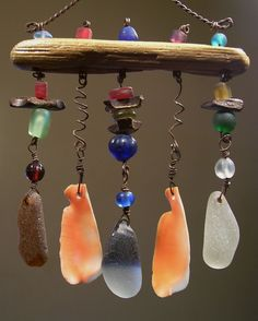 windchimes, beach glass, shells, beads ~ dangle from driftwood