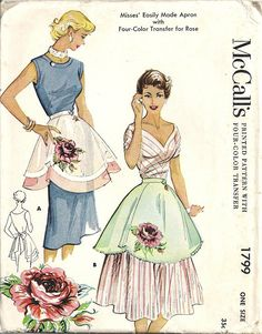 McCall's 1799 Vintage 1950's Apron Pattern Girlie Retro by GimmeCrafts on Etsy
