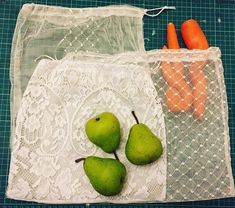 Reduce the need for single use plastic bags next time youre buying fruit and vegetables by using these set of four (4) reusable produce bags made out of old recycled lace curtain material. The bags are all original so will vary in size, shape and material. They are made from vintage curtain