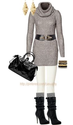 """Sweater Tunic & Sweater Boots"" by casuality on Polyvore"
