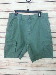 Chaps khaki chino cargo shorts mens sz 34 green 100% cotton 6 pockets #Chaps #Cargo