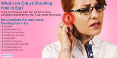 This article explains the common causes of shooting pain in the ears. Sharp shooting ear pain can be felt in many conditions related to the ear, nose, throat and head.