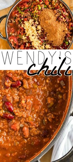 This simple Wendy's Chili Recipe is SPOT ON! Also, easy and delicious! Make a … This simple Wendy's Chili Recipe is SPOT ON! Also, easy and delicious! Make a double batch and freeze some for later, and make sure to add it to this week's meal plan! Best Chili Recipe, Chilli Recipes, Crockpot Recipes, Soup Recipes, Cooking Recipes, Wendy Chili Recipe, Soupy Chili Recipe, Simple Chili Recipe, Steak Recipes