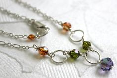 Sparkling Swarovski Necklace:tanzanite,olivine and copper swarovski cystal and stelring silver necklace