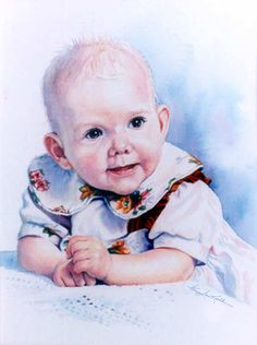 Painted Baby Girl Watercolor Portrait Commission