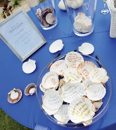 thinking about a beach wedding? Have gusts sign seashells as your guest book
