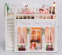 DIY Wooden Dollhouse Miniature Model Kits w/ Light &all furnitures