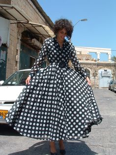 CHANEL dress black and white polka dots made in France circa 1990's. $925.00, via Etsy.