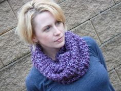 Ladies Knit Blue and Purple Cowl Scarf by lovemyknits on Etsy, $25.00