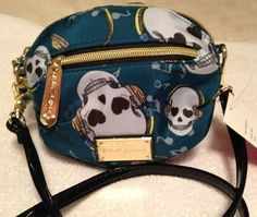 BETSEY JOHNSON crossbody in TEAL and skulls design authentic $49.99