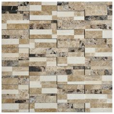 Domino Brown Brick Pattern Glass and Marble Mosaic Tile #brown_brick_mosaic_tile #brick_pattern_marble_tile