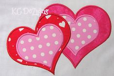 Valentine Hearts Machine Applique Embroidery Design  by KCDezigns