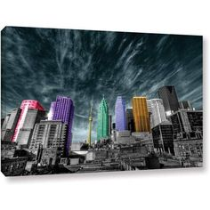 ArtWall Revolver Ocelot Toronto Gallery-Wrapped Canvas, Size: 32 x 48, Purple