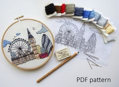 Hand Embroidery pattern PDF. London Great Britain. Embroidery Hoop art, Wall Decor, Housewarming Gift. Free Hand embroidery guide!
