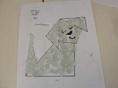 Hondje vouwen en da beplakken met gekleurde stukjes papier Blond Amsterdam, Schmidt, School