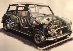 Mini Cooper Classic, Mini Cooper S, Classic Mini, Classic Cars, Mini Drawings, Car Drawings, Automotive Engineering, Morris Minor, Mini Stuff