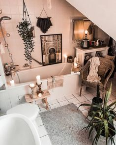 60 Best and Bright Boho Bathroom Ideas Bathroom Niche, Bathroom Flooring, Bathroom Ideas, Bathroom Trends, Bathroom Designs, Bathroom Inspiration, Workout Room Home, Workout Rooms, Hippie Boho