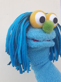 blue sock puppet, hand puppet, moving mouth puppet, therapy and educational puppet Glove Puppets, Sock Puppets, Hand Puppets, Finger Puppets, Sock Animals, Animals For Kids, Cookie Monster Puppet, Puppets For Kids, Puppet Patterns