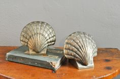 Vintage Brass SeaShell Bookends  Pair Mid Century Modern by drowsySwords on Etsy