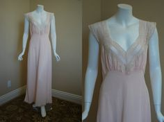 1940s Pink Nightgown 36 Medium Bias Cut Gown by IntimateRetreat