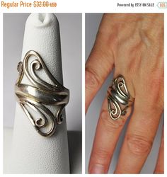ON SALE Vintage 925 Silver Swirl Ring by HauteVintageJewels