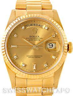Rolex President Mens 18k Yellow Gold Diamond Watch 18238