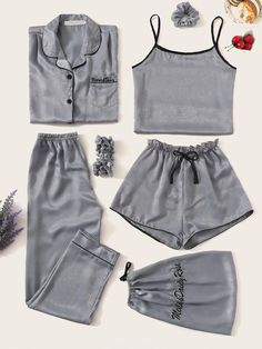To find out about the Letter Embroidered Satin Pajama Set at SHEIN, part of our latest Night Sets ready to shop online today! Cute Pajama Sets, Cute Pajamas, Pyjama Sets, Satin Pyjama Set, Satin Pajamas, Pyjamas, Cute Lazy Outfits, Casual Outfits, Girly Outfits