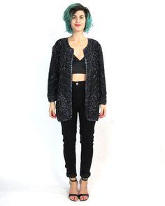 90s Silk Sequin Jacket Black Beaded Sequin by honeymoonmuse