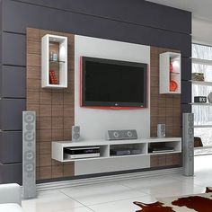 50 Images Of Modern Floating Wall Theater Entertainment Design Ideas With Shelves - Bahay OFW unit Design Tv Cabinet Design, Tv Wall Design, Ceiling Design, Media Cabinet, Tv Unit Decor, Tv Wall Decor, Wall Decorations, Tv Unit Furniture, Home Decor Furniture
