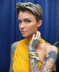 Hair Pixie Hairstyles, Cute Hairstyles, Rubby Rose, Androgynous Haircut, Androgyny, Rose Actress, Ruby Rose Hair, Rose Queen, Orange Is The New Black