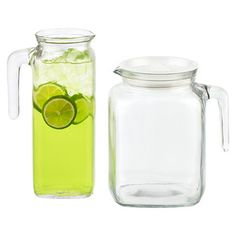 Made from heavy-weight material, our Glass Refrigerator Pitchers have the advantage of not absorbing odors or stains, and keep beverages cooler longer.  Each comes with a locking hermetic plastic lid that seals tightly.  They feature grip handles and the smaller version will fit perfectly on the refrigerator door.  Pick the one that best fits your serving needs: juice, milk, water, coffee creamer, salad dressing, wine or margaritas.