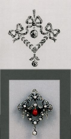 A BROOCH-PENDANT set with brilliant and rose-cut diamonds. Rendering dated: 16 October 1909 (old style) all in cyrillic. An enameled red drop has replaced the original idea to use a diamond. Perhaps the red drop had special meaning to the client.