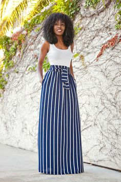 a perfect summer combo white tank top striped maxi skirt Striped Skirt Outfit, Striped Maxi Skirts, Stripe Skirt, Skirt Outfits, Dress Skirt, Blue Maxi, Denim Skirt, Bodycon Dress, Sexy Dresses