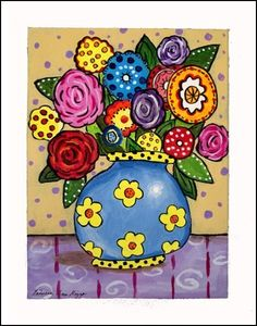 Blue vase with mexican flowers, colorful tablecloth and background. Available in 3 differen size prints. Shipping is free within the USA. Listed in Ask Art Listed in the Blue Book of North American Artists. Folk Art Flowers, Abstract Flowers, Flower Art, Mini Paintings, Paintings I Love, Beautiful Paintings, Decoupage Vintage, Classroom Art Projects, Mexican Folk Art