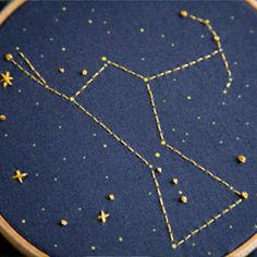 embroideri hoop, hoop craft, embroideri kit, constellations, constel embroideri, star, crack embroideri, cross stitches, embroidery