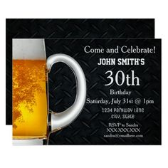 Rugged Adult Beer Men's Birthday Invitations