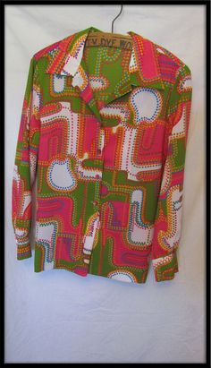 Psychedelic 1970s Vintage Pykettes bold colorful print top blouse L XL. via Etsy.