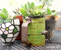 Vintage Flour Sifter & discarded light sconces make for fun and eclectic  container gardening.