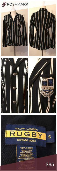 Striped cricket blazer by Rugby Ralph Lauren - S Preppy-chick striped blazer with RL crest on left chest. Size 6 100% cotton New without tags rugby by ralph lauren Jackets & Coats Blazers