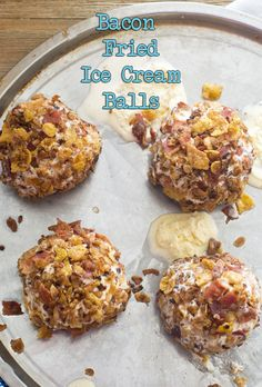 Everyone loves breakfast for dessert and what better way to combine 2 breakfast favorites than with ice cream! These bacon fried ice cream balls are delish. Bacon Fries, Bacon Bacon, Fried Ice Cream, Delicious Deserts, Bourbon, Brewing, Delish, Balls, Cereal